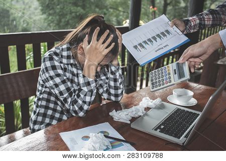 Women Are Stressed Due To Work Failures, Business Failure Concept, Stressed Businessman With Head In