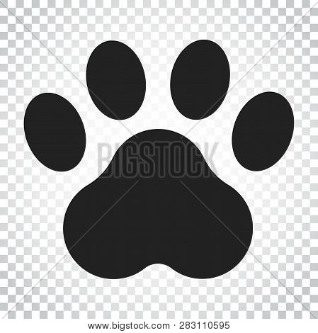Paw Print Vector Icon. Dog Or Cat Pawprint Illustration. Animal Silhouette. Simple Business Concept