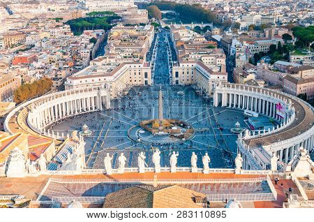 Vatican, Rome, Italy - November 16, 2018: View From Above On The Famous St. Peters Square, Piazza Sa