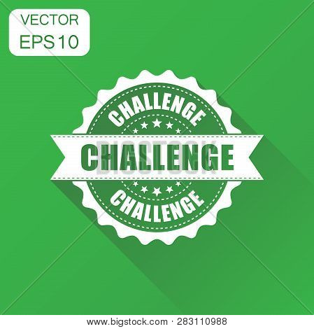 Challenge Rubber Stamp Icon. Business Concept Challenge Stamp Pictogram. Vector Illustration On Gree