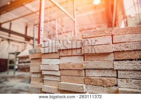 Woodworking, Sawmill Workshop For Production And Processing Of Wood, Timber, Planks.