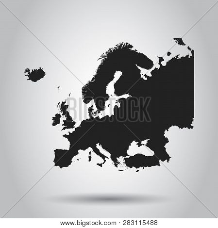 Europe Map Icon. Flat Vector Illustration. Europe Sign Symbol With On White Background.