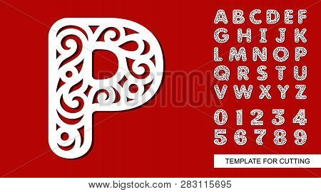 Letter P. Full English Alphabet And Digits 0, 1, 2, 3, 4, 5, 6, 7, 8, 9. Lace Letters And Numbers. T