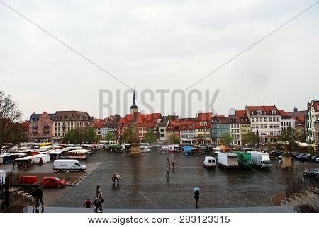 Erfurt, Thuringia, Germany - May 04, 2013: The Panorama View Of The Erfurt Old Town