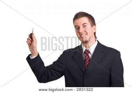 Business Man Shows Car Key