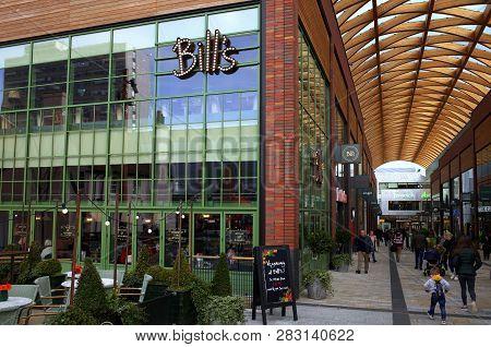 Bracknell, England - February 09, 2019: The Exterior Of Bills Cafe In The Town Center Of Bracknell,