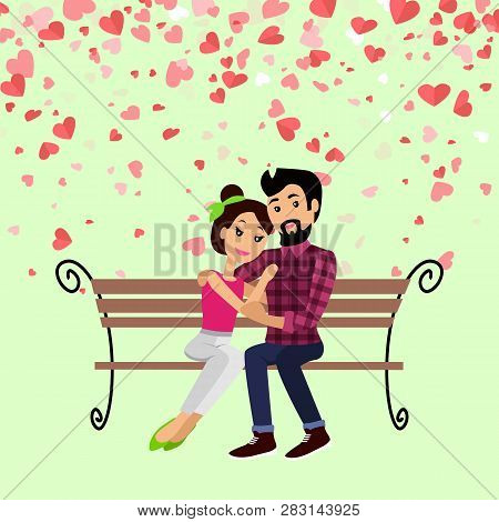 Valentine Day Hugging Man And Woman Sitting On Bench Vector. Postcard Decorated By Red Hearts, Boyfr