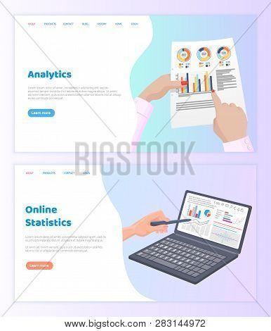 Online Statistics Paper Documentation Website Vector. Visual Representation Of Information, Internet