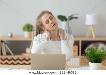 Tired Fatigued Young Woman Massaging Stiff Neck Rubbing Tensed Muscles