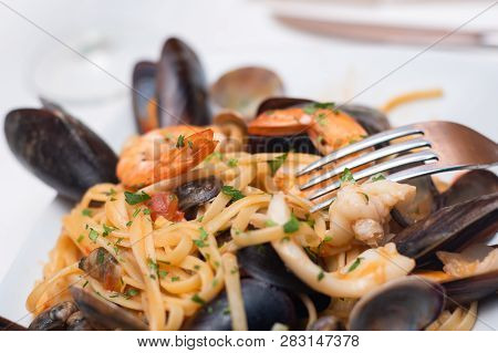 Linguine Allo Scoglio Classic Dish Of Italian Pasta With Seafood