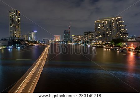 Chaopraya River View From Taksin Bridge, Bangkok, Thailand