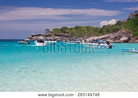 Beautiful Sea Landscape With Tropical Coast And The High-speed Boat