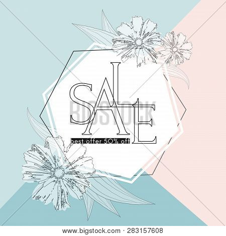Poster Sale Best Offer 50% Off On An Elegant Spring Background With Flowers Luxury Card Poster For S