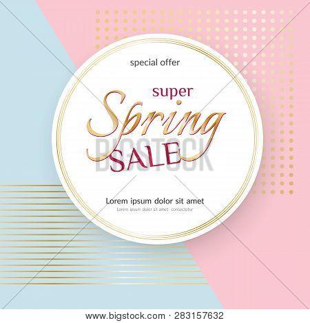 Poster Spring Sale Elegant Golden Specks Pink Background Luxury Card Poster For Advertising Sale Pro