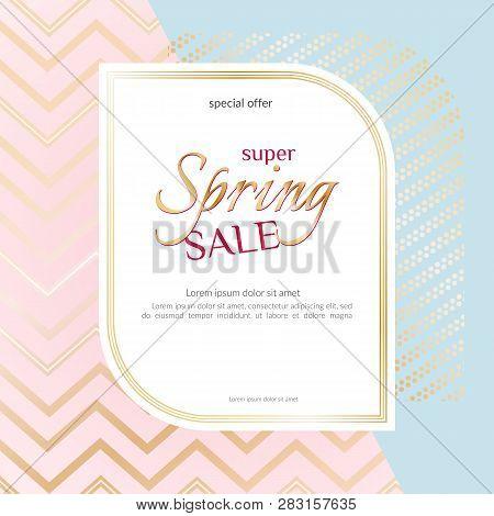 Banner Spring Sale Elegant Golden Specks Zigzag Pink Background Luxury Card Banner For Advertising S