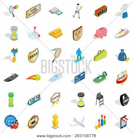 Small Victory Icons Set. Isometric Style Of 36 Small Victory Icons For Web Isolated On White Backgro