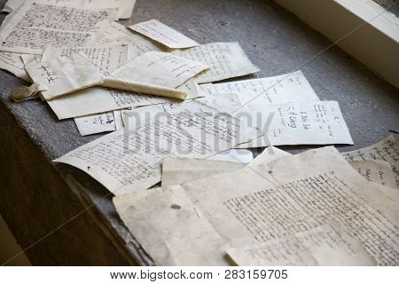 London, Uk - May 11, 2018. Old Letters And Documents At Hampton Court Palace. London, Uk - May 11, 2