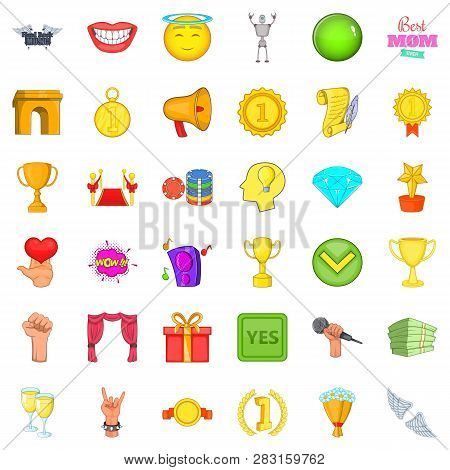 Winning Cup Icons Set. Cartoon Style Of 36 Winning Cup Icons For Web Isolated On White Background