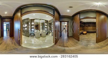 Minsk, Belarus - August 2017: Full Seamless Panorama 360 Angle View In Elite Vip Bathroom And Wardro
