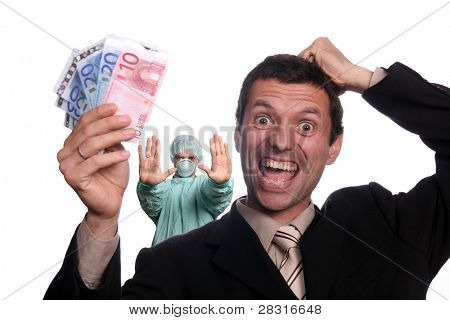 happy crazy businessman with 	 Psychiatrist sign stop