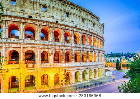 Rome, Italy. Colosseum, Coliseum Or Coloseo,  Flavian Amphitheatre Largest Ever Built Symbol Of Anci