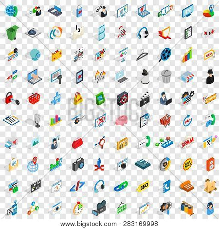 100 Www Icons Set In Isometric 3d Style For Any Design Illustration