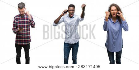 Collage of young people talking and texting using smartphone over isolated background annoyed and frustrated shouting with anger, crazy and yelling with raised hand, anger concept