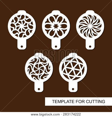 Set Of Coffee Stencils. For Drawing Picture On Cappuccino, Macchiato And Latte . Abstract Geometric