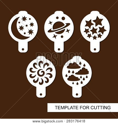 Set Of Coffee Stencils. For Drawing Picture On Cappuccino, Macchiato And Latte . Space Themed. Silho