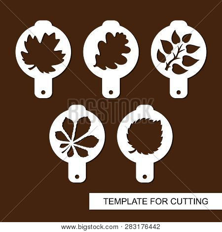Set Of Coffee Stencils. For Drawing Picture On Cappuccino, Macchiato And Latte. Floral Theme. Silhou
