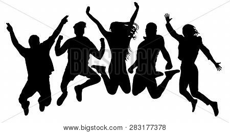 People Jump Vector Silhouette. Jumping Friends Youth Background. Crowd People, Close To Each Other.