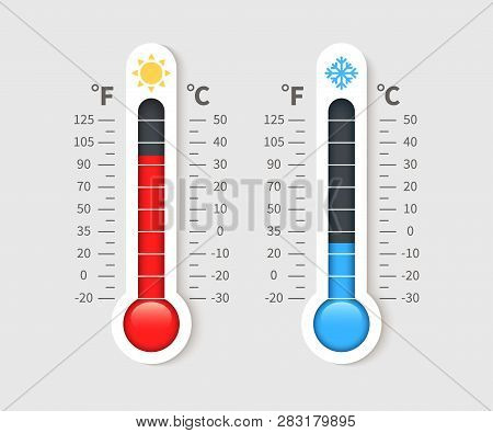 Cold Warm Thermometer. Temperature Weather Thermometers With Celsius And Fahrenheit Scale. Thermosta