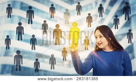 Woman Choosing Staff Accept A Different Person From The Crowd. Employee Selection Group Leadership.