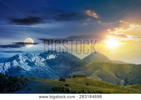 Day And Night Time Change Concept Above Mountains With Rocky Formations. Grassy Meadows, Forested Hi