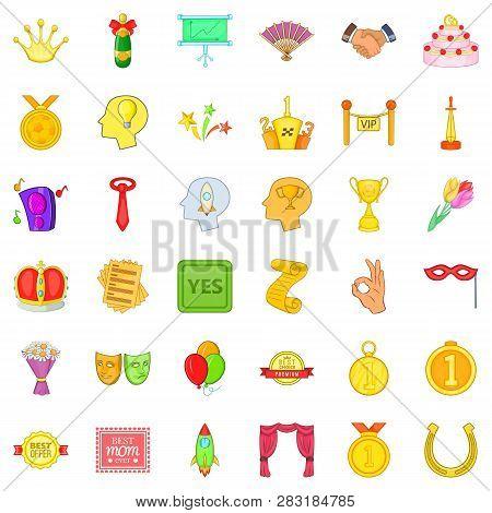 Winning Icons Set. Cartoon Style Of 36 Winning Icons For Web Isolated On White Background