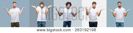 Collage of group of handsome hispanic, indian and arab men over vintage background clueless and confused expression with arms and hands raised. Doubt concept.