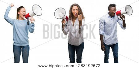 Collage of young people yelling through megaphone over isolated background annoyed and frustrated shouting with anger, crazy and yelling with raised hand, anger concept
