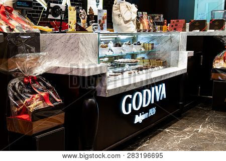 Hong Kong, February 9, 2019: Godiva Was Founded In 1926 In Brussels, Belgium, By The Draps Family. G