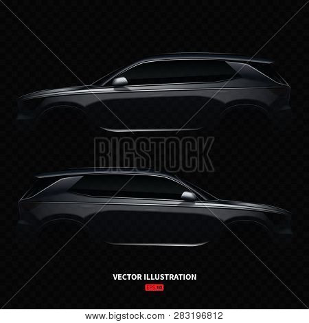 Realistic Crossover Car Silhouette. Vector Illustration With Side View On Silhouettes Of Car Isolate