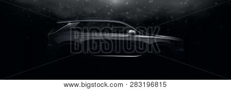 Realistic Silhouette Of Crossover Car. Vector Illustration With Side View On Silhouettes Of Car Isol