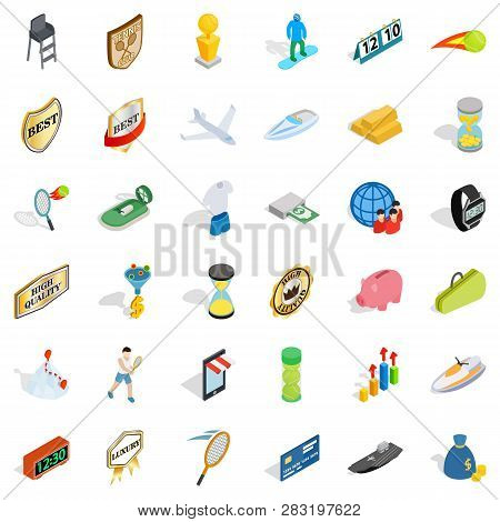 Sport Victory Icons Set. Isometric Style Of 36 Sport Victory Icons For Web Isolated On White Backgro