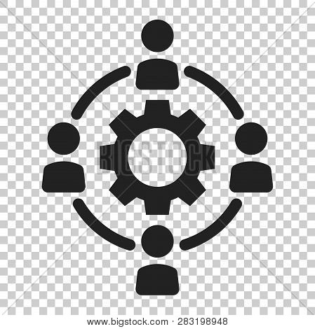 Outsourcing Business Collaboration Vector Icon In Flat Style. People Cooperation Illustration On Iso