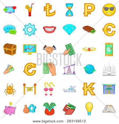 Riches Icons Set. Cartoon Style Of 36 Riches Icons For Web Isolated On White Background