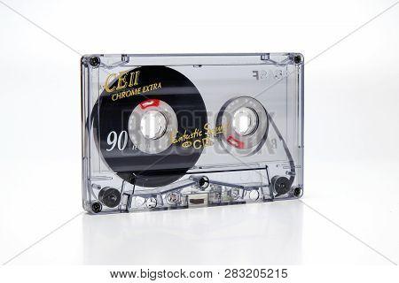 Prague, Czech Republic - January 17, 2019: Audio Compact Cassette Basf Ce Ii Chrome. Audio Cassette