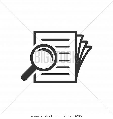 Scrutiny Document Plan Icon In Flat Style. Review Statement Vector Illustration On White Isolated Ba