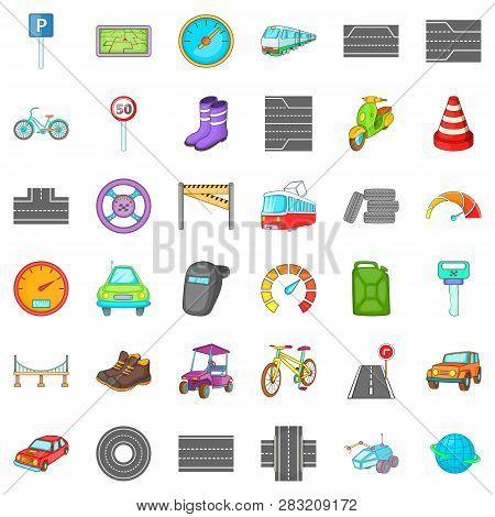 Hard Traffic Icons Set. Cartoon Style Of 36 Hard Traffic Icons For Web Isolated On White Background