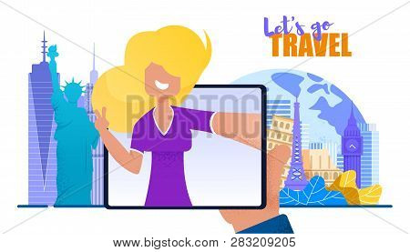 Girl From Screen Tablet Invites Lets Go Travel. Banner Vector Illustration Happy Young Woman Talking