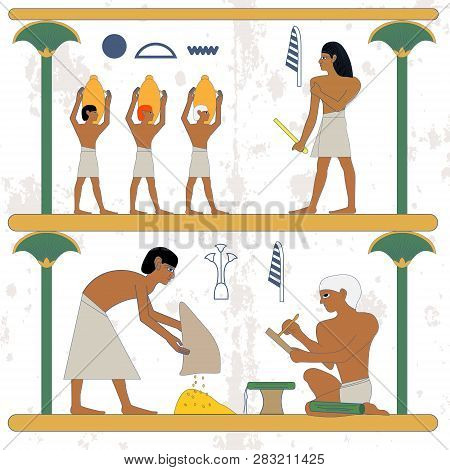 Ancient Egypt Background. Peasant With Grane And Scribe Compostion. Man With Grane And Egypt Noble S