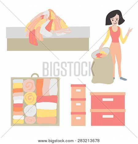 Tidy Up And Declutter Concept Vector Icon Set. Closet Organization Illustration. Woman With Bag Decl