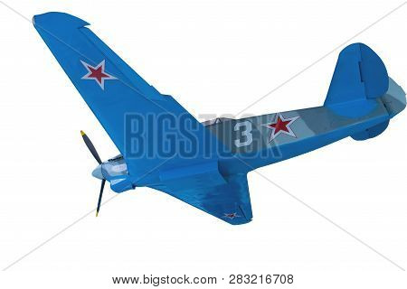 Soviet Aircraft Of World War Ii Isolated On White Background. Airplane Front View .